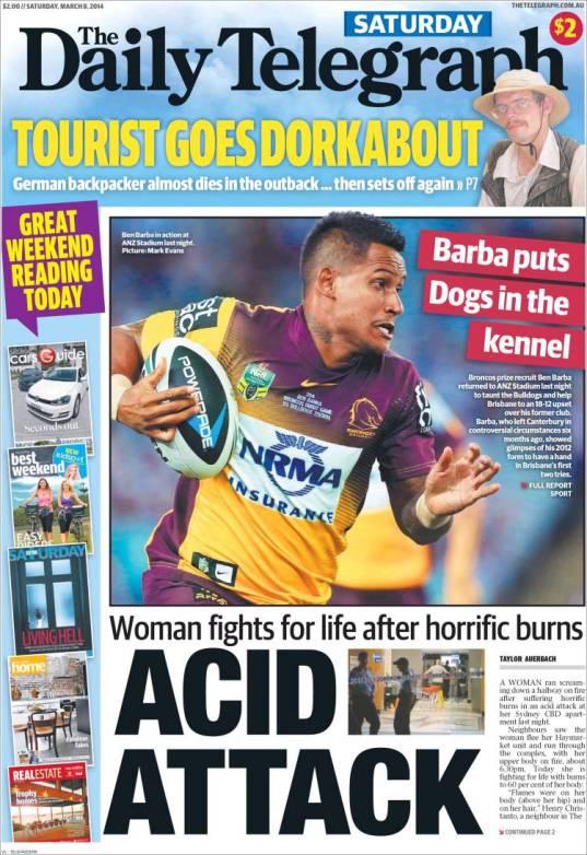 นสพ. The Telegraph ฉบับวันที่ 8 มี.ค. ขึ้นหน้าหนึ่ง สาวไทยถูกแฟนหนุ่มราดน้ำกรดและจุดไฟเผาทั้งเป็น