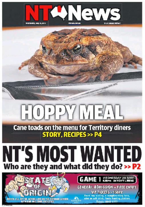 นสพ. NT News ฉบับ 21 พ.ค. 2014 เสนออาหารโอท็อปจากดาร์วิน แคนโทดทอดกระเทียมพริกไทย