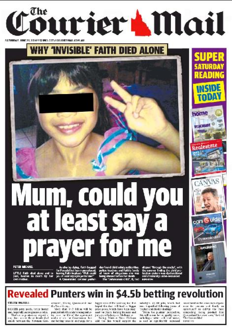 นสพ. The Courier Mail ฉบับ 28 มิ.ย. 14 เสนอข่าวโคโรเนอร์รายงานสาเหตุการเสียชีวิตของด.ญ. Faith