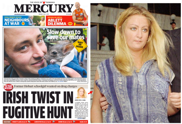 นสพ. Mercury ฉบับ 7 ก.ค. เสนอข่าวตามล่าน.ส. Lisa Marie Smith อดีตผู้ต้องหาหนีคดียาเสพติดไทย และภาพต้นฉบับของเธอที่ด้านขวา