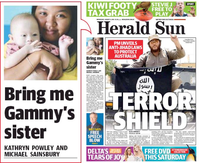 """นสพ. the Herald Sun ฉบับ 6 ส.ค. 2014 พาดหัว """"นำพี่สาว Gammy มาให้ฉัน"""""""