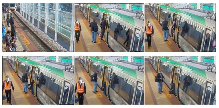 ภาพจากกล้อง CCTV ตัวหนึ่งของสถานี ภาพ 1 รถไฟกำลังเข้าสถานี ภาพที่ 2 ถึง 6 ในช่วงสองสามวินาทีที่ Andy ขาตกลงไปในช่องระหว่างรถไฟกับชานชลา