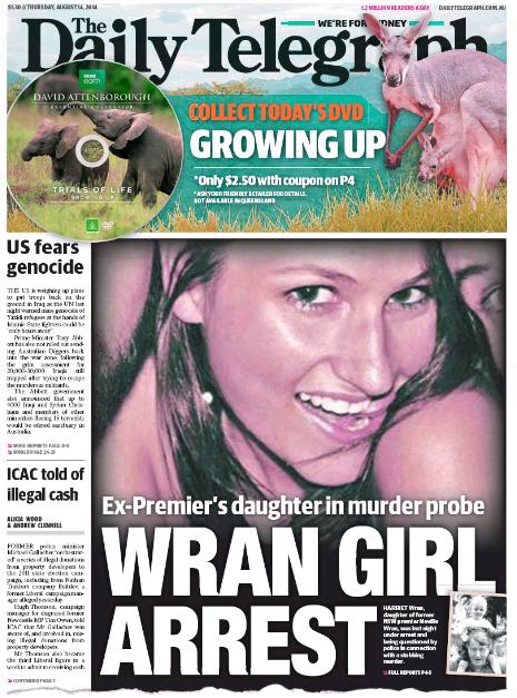 นสพ. The Telegraph ฉบับ 14 ส.ค. 2014 ลงข่าวการจับกุมบุตรสาวอดีนนายกฯ Neville Wran