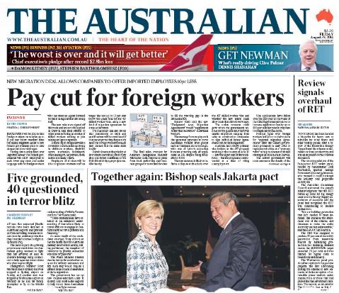 นสพ. The Australian ฉบับ 29 ส.ค. 2014 เสนอข่าววีซ่าจ้างงานใหม่ 475 DAMA