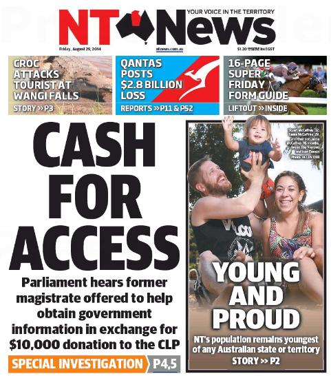 นสพ. NT News ฉบับ 29 ส.ค. 2014 ด้านขวาเสนอรายงานข่าวประชากรของสำนักงานสถิติแห่งชาติ