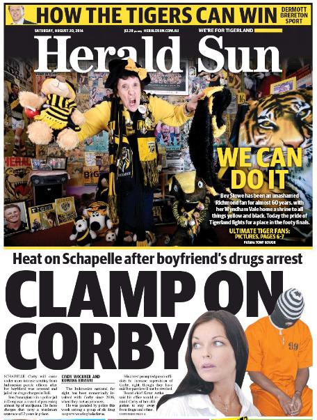 นสพ. The Sun Herald ฉบับวันที่ 30 ส.ค. 2014 เสนอข่าวของนาง Schapelle Corby