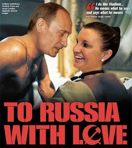 """นสพ. the Daily Telegraph ลงภาพประธานาธิบดี Putin และส.ว. Lambie พร้อมล้อเลียนชื่อภาพยนตร์ดังในอดีต """"แด่คุณครูด้วยดวงใจ"""" ว่า """"แด่รัสเซียด้วยดวงใจ"""""""