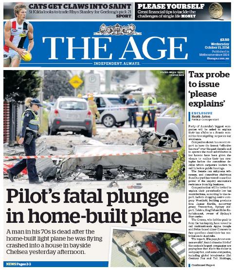 นสพ. The Age ฉบับ 15 ต.ค. 2015 เสนอข่าวเครื่องบินเล็กตกในเมลเบิร์น