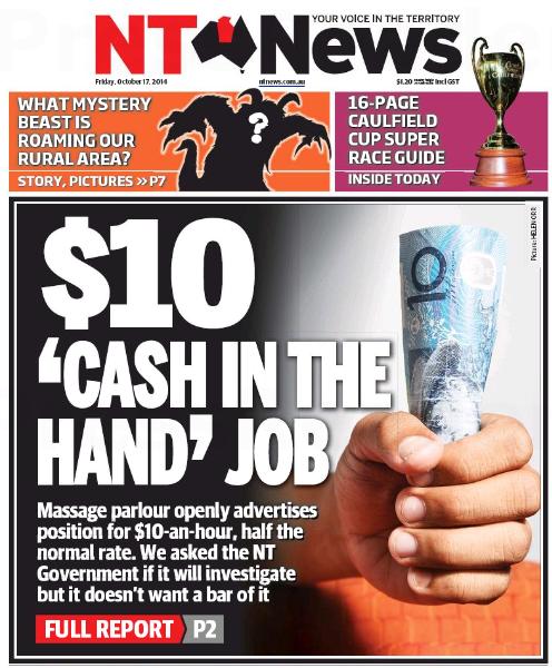 นสพ. NT News ฉบับ 17 ตุลาคม 2014 ลงข่าว อาบอบนวดในดาร์วินเสนองานชั่วโมงละ 10 เหรียญ