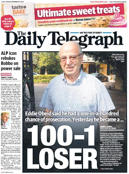 นสพ. the Daily Telegraph เสนอข่าวการสั่งฟ้องนาย Eddie Obeid คดีคอร์รัปชั่น