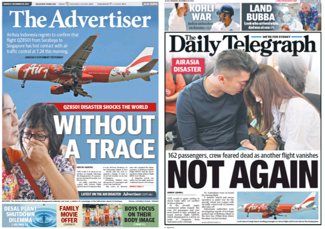 หนังสือพิมพ์ฉบับวันที่ 29 ธันวาคม 2014 ทุกสำนักในออสเตรเลียขึ้นหน้าหนึ่งข่าวเหตุการณ์เครื่องบิน AirAsia เที่ยวบิน QZ8501หายลึกลับ โดยเชื่อว่าตกกลางทะเล