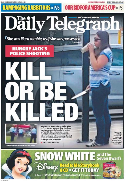 """นสะ. the Telegraph ฉบับ 11 ก.พ. 2015 เสนอข่าววัยรุ่นหญิงถูกยิงเสียชีวิต ด้วยการพาดหัว """"ฆ่าหรือถูกฆ่า"""""""