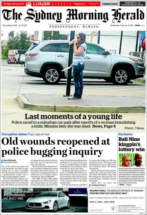 นสพ. the SMH ฉบับ 11 ก.พ. 2015 ขึ้นหน้าหนึ่งภาพน.ส. Courtney Topic ก่อนถูกตำรวจยิงเสียชีวิต