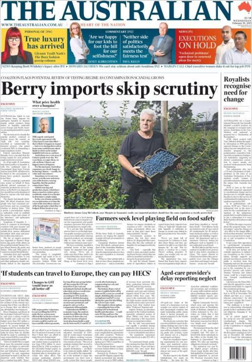 นาย Greg McCulloch ประธานสมาคมผู้ปลูกบลูเบอร์รี่แห่งออสเตรเลียบนหน้าหนึ่งนสพ. the Australian ฉบับ 18 ก.พ. 2015