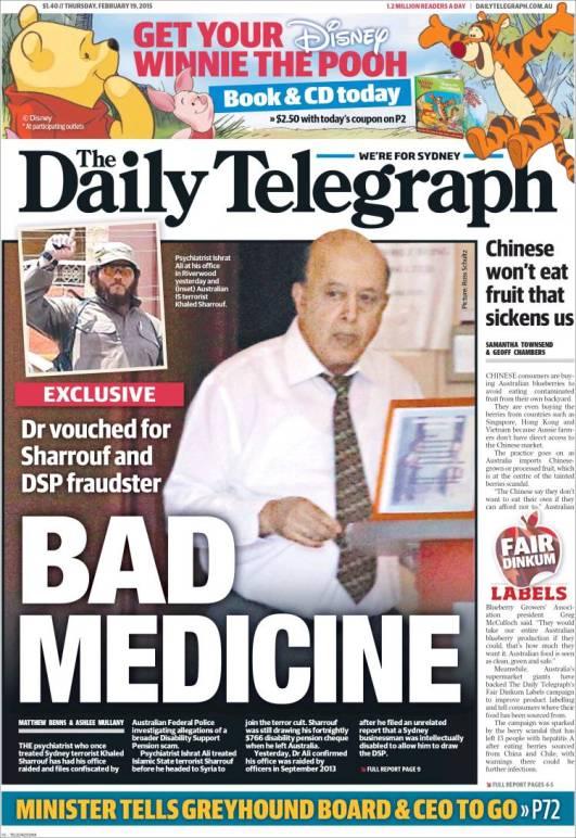 นสพ. the Telegraph หน้า 1 ด้านขวาเสนอข่าว ชาวจีนไม่กินเบอร์รี่ปลูกในประเทศของตน ที่ทำให้ผู้บริโภคชาวออสเตรเลียติดเชื้อไวรัสตับอักเสบเอแล้ว 13 คน