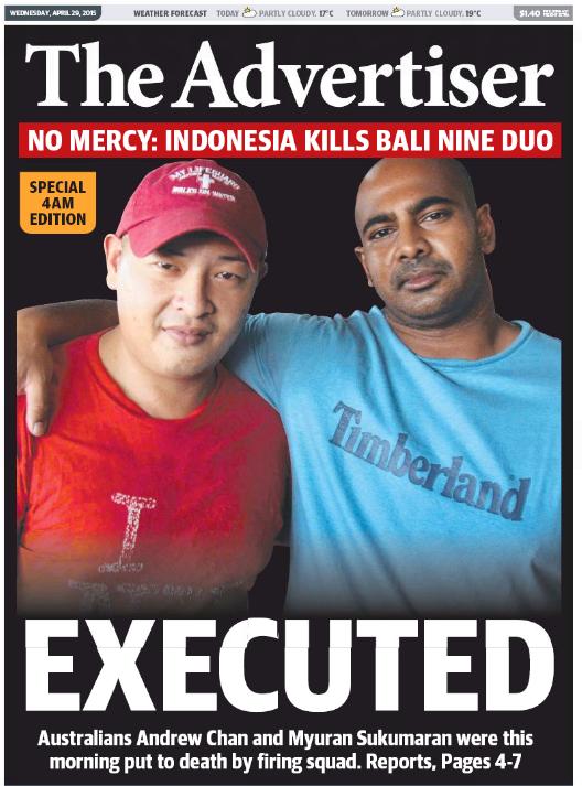 นสพ. the Advertiser ฉบับ 29 เม.ย. 2015 ลงข่าวการประหารชีวิตนาย Andrew Chan และนาย Myuran Sukumaran (ในภาพ) ในวันนี้ (29 เม.ย.)