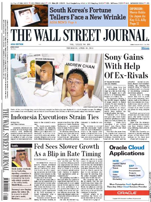 นสพ. the Wall Street Journal ฉบับเอเชียประจำวันที่ 30 เม.ย. 2015