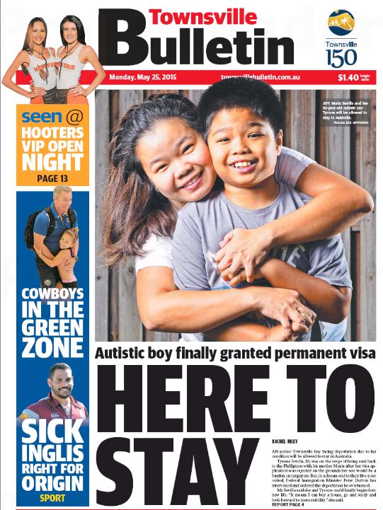 นสพ. Townsville Bulletin ฉบับ 25 พ.ย. 2015 เสนอข่าวสองแม่ลูกตระกูล Sevilla ได้รับวีซ่าถาวรเป็นกรณีพิเศษ