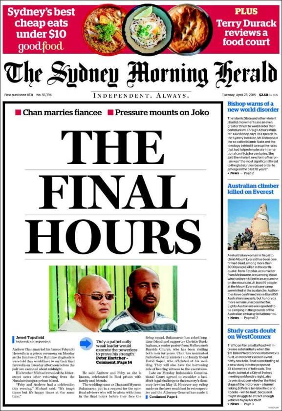 นสพ the SMH ฉบับ 28 เม.ย. 2015 เสนอชีวิตชั่วโมงท้าย ๆ ของนาย Andrew Chan และนาย Myuran Sukumaran ก่อนการประหารในวันที่ 29 เมษายน