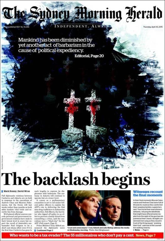 นสพ. the SMH ฉบับ 30 เม.ย. 2015 เสนอข่าวการประหารรชีวิตนาย Andrew Chan และนาย Myuran Sukumaran และการโต้ตอบจากรัฐบาลออสเตรเลีย