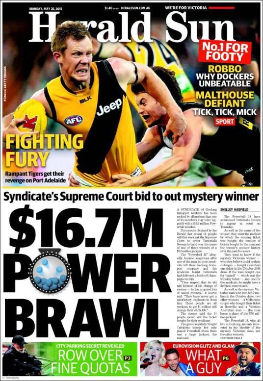 นสพ. Herald Sun ฉบับ 25 พ.ค. 15 เสนอข่าวกลุ่มเพื่อนร่วมลงขันซื้อหวย Power Ball (โดยเลียนคำพ้องเสียง Ball เป็น Brawl ที่แปลว่าทะเลากัน) 14 คนพึ่งศาลฎีกาบีบให้เผยตัวไอ้โม่งผู้ถูกหวย 16.7 ล้านเหรียญ