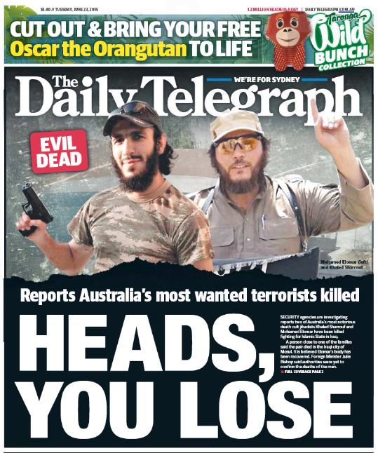 นสพ. the Daily Telegraph ฉบับ 23 มิถุนายน 2015 เป็นหนึ่งในสื่อพิมพ์หลายฉบับที่เสนอข่าวลือการเสียชีวิตของนาย Khaled Sharrouf และนาย Mohamed Elomar