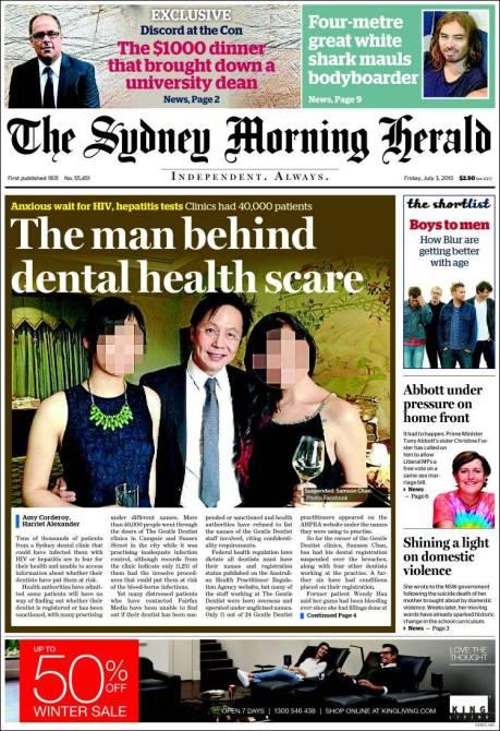 นสพ. the SMH ฉบับ 3 ก.ค. 2015 เสนอข่าวคลีนิคทำฟันที่ดำเนินกิจการไม่ต้องตามมาตรฐาน ในภาพคือทพ. Samson Chan