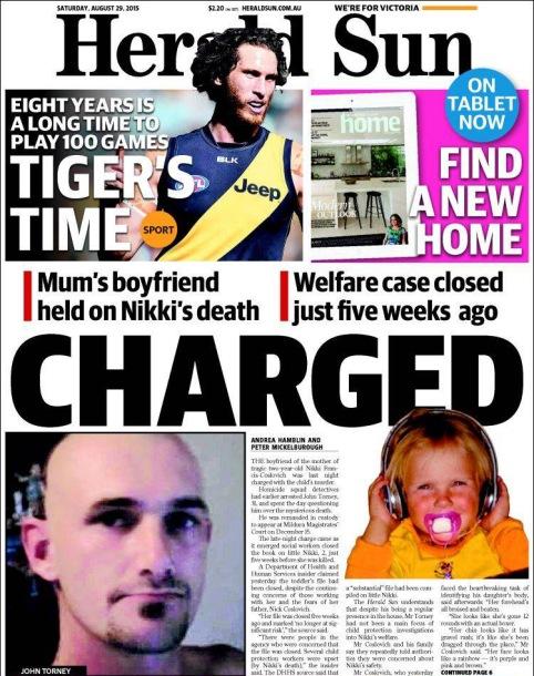 นสพ. นสพ. Herald Sun ฉบับ 29 ส.ค. 2015 เสนอข่าวตำรวจจับกุมชายคนรักของมารดา ฐานฆ่า Nikki ลูกเลี้ยง