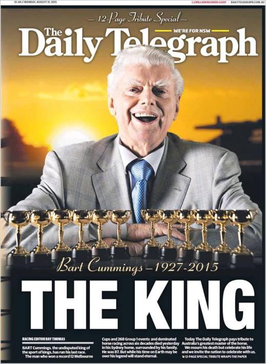 นสพ. the Daily Telegraph ฉบับ 31 ส.ค. 2015 หนึ่งในหนังสือพิมพ์หลักในออสเตรเลียทุกฉบับเสนอข่าวการเสียชีวิตของนาย Bart Cunnings  โดย Telegraph เสนอเรื่องราวของเขาถึง 3 คู่หน้า-หลัง (12 หน้า) ทีเดียว