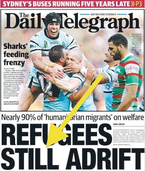 นสพ. the Daily Telegraph ฉบับ 14 ก.ย. 2014 เสนอข่าวผู้ลี้ภัยบนพื้นฐานมนุษยธรรมเกือบ 90% เป็นผู้ที่ต้องพึ่งพาเงินสวัสดิการณ์