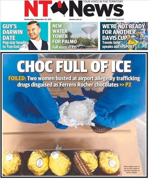ตำรวจพบยาไอซ์ซ่อนอยู่ในช็อคโกแลต Ferrero Rocher ภาพจากตำรวจนอร์เทิร์นเทร์ริทอรี