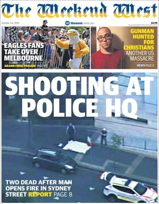 the Weekend West หนังสือพิมพ์ฉบับสุดสัปดาห์ของ the West Australian เสนอภาพมือปืนวัยรุ่นหลังถูกยิงเสียชีวิต (คลุมด้วยผ้าขาว)