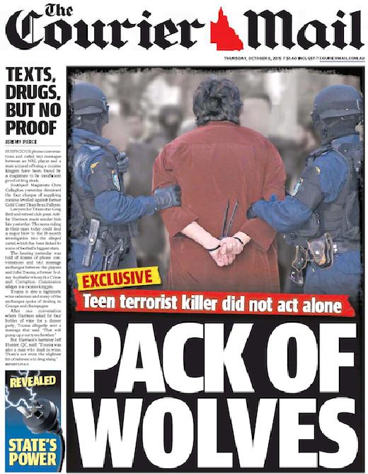 นสพ. the Courier Mail พาดหัวข่าววัยรุ่นวัย 15 ปีไม่ได้ก่อการร้ายที่สำนักงานใหญ่ตำรวจรัฐน.ซ.ว.ตามลำพัง แต่กระทำเป็นฝูง
