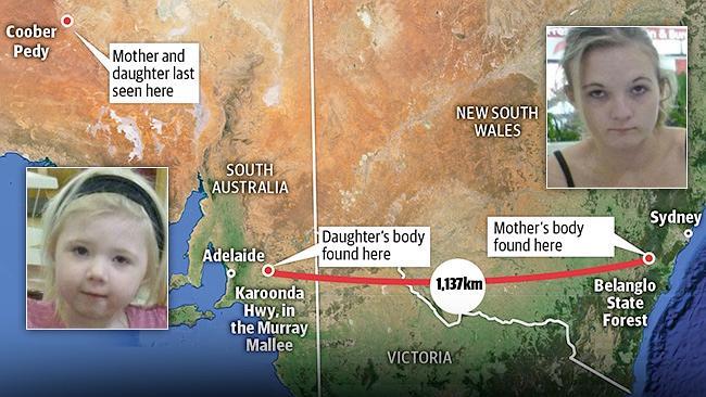 ภาพแสดงจุดที่พบมารดาและบุตรครั้งสุดท้ายที่ Coober Pedy ในรัฐเซาท์ออสเตรเลีย, จุดพบศพบุตรสาวข้างทางด่วน Karoonda Highway รัฐเซาท์ออสเตรเลีย, และศพของผู้เป็นมารดาที่ป่า Belanglo State Forest รัฐน.ซ.ว. (ภาพชั่วคราวจากนสพ. NT News)
