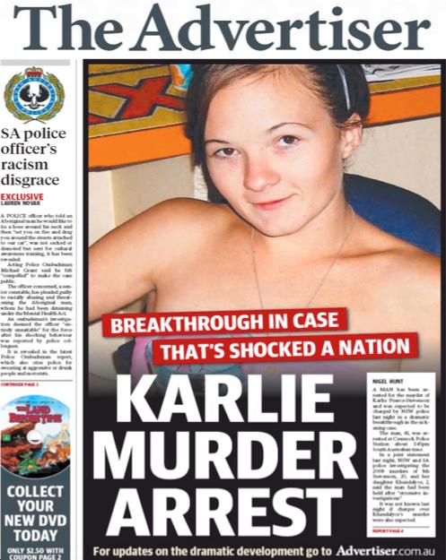 นสพ. the Advertiser ฉบับ 29 ต.ค. 2015 เสนอข่าวการจับกุมผู้ต้องสงสัยสังหารนาง Karlie Stevenson