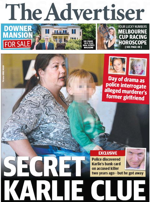 นสพ. the Advertiser ฉบับ 31 ต.ค. 2015 เสนอข่าวหญิงปริศนามากับรถเข็นคดีฆ่าสองแม่ลูก Angel เข้ามอบตัวต่อตำรวจ