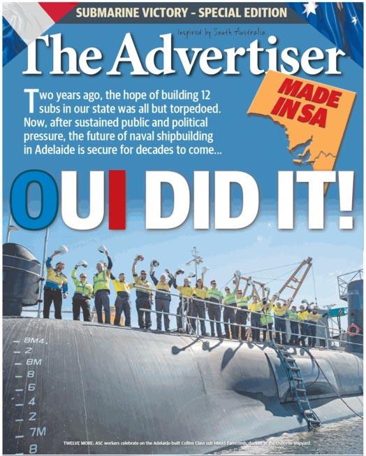 """นสพ. the Advertiser ฉบับ 27 เม.ย. 2016 พาดหัวข่าว """"ฝรังเศสทำได้"""" (oui ในภาษาฝรั่งเศสแปลว่า ใช่) ในการได้สัญญาผลิตเรือดำน้ำให้กับกองทัพเรือออสเตรเลีย"""
