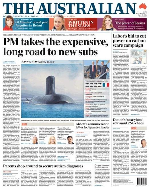 นสพ. the Australian พาดหัว นายกฯเลือกของแพงและหนทางที่ยาวไกลในการสร้างเรือดำน้ำ