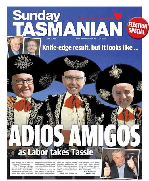 """นสพ. Sunday Tasmanian ฉบับ 3 ก.ค. 2016 พาดหัวข่าว """"ลาก่อนสามเกลอ"""""""