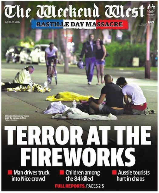 นสพ. West Weekend West ฉบับ 16-17 ก.ค. 2016 เสนอข่าวเหตุการณ์สังหารหมู่ในวันชาติฝรั่งเศส โดยผู้ก่อก่ารร้ายฝ่าย IS ใช้รถบรรทุกพุ่งเข้าชนประชาชนที่มาร่วมดูการแสดงพลุ