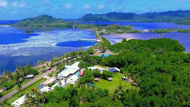 อีกภาพหนึ่งของเกาะ Kosrae ของสหพันธรัฐไมโครนีเซียในมหาสมุทรแปซิฟิก : ภาพจากทีวี Nine Network