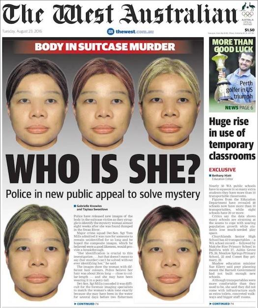 นสพ. The West Australian ฉบับวันที่ 23 ส.ค. 2016 ตำรวจนำภาพใหม่ขอความร่วมมือสาธารณชนในการแจ้งเบาะแสคดีสาวเอเชียถูกฆ่ายัดใส่กระเป๋า