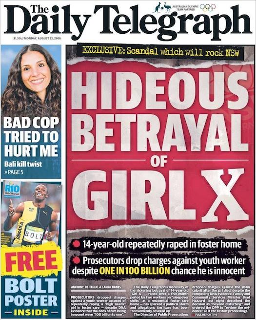 """นสพ. the Telegraph ฉบับ 22 ส.ค. 2016 ภาพหัวข่าว """"การทรยศอันน่าอัปยศต่อ Girl X"""" กับเหตุการณ์สำนักงานอัยการสั่งยกฟ้องคดีข่มขืนเด็กหญิงวัย 14 ปีทั้งที่หลักฐานหนาแน่น โอกาสจำเลยรอดคดีมีเพียง 1 ในแสนล้านเท่านั้น"""