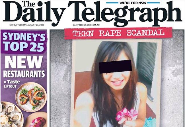 ภาพ Girl X ผู้หนีจากการถูกบิดาทำร้าย มาเจอผู้ดูแลทำร้ายและข่มขืนเธอ : จากนสพ. Telegraph หน้าหนึ่งฉบับ 23 ส.ค. ที่ผ่านมา