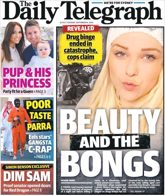 """นสพ. the Telegraph ฉบับ 6 ก.ย. 2016 พาดหัวข่าว """"สาวงามกับบ้องกัญชา"""" ตร.อ้างเสพยานำมาซึ่งจุดจบของความหายนะ"""