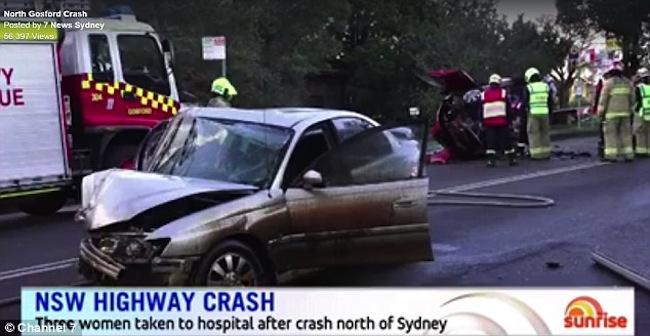 สภาพรถโฮลเดนคอมมอนดอร์ที่ขับโดยน.ส. Bianca Harrington หลังเกิดอุบัติเหตุ : ภาพจากข่าว Sunrise ทางทีวี 7