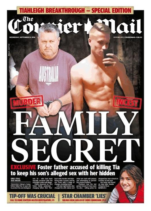 นสพ. The Courier Mail ฉบับ 21 ก.ย. 2016 พาดหัวข่าวการค้นพบความลับของครอบครัว Thorburn ในสังหารคดีด.ญ. Tiahleigh (รูปพ่ออุปถัมภ์) คือฆาตกร (รูปพี่ชายอุปถัมภ์) คือผู้มีเพศสัมพันธ์กับน้องในอุปถัมภ์