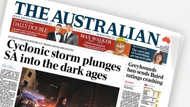 นสพ. The Australian       ฉบับ 29 ก.ย. 2016 พาดหัวข่าว พายุไซโคลนถล่มเซาท์ออสเตรเลียจนเข้าสู่ยุคมืด
