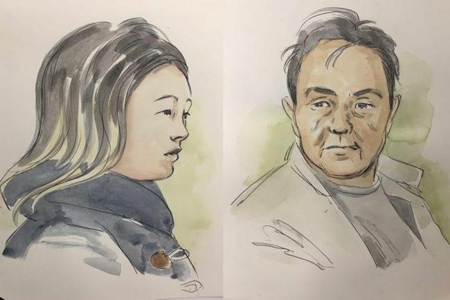 ภาพสเก็ตของนาง Tiffany Yiting Wan และนาย Ah Ping Ban ผู้ต้องหาในขณะปรากฎตัวที่ศาล : ภาพจากสำนักข่าว ABC