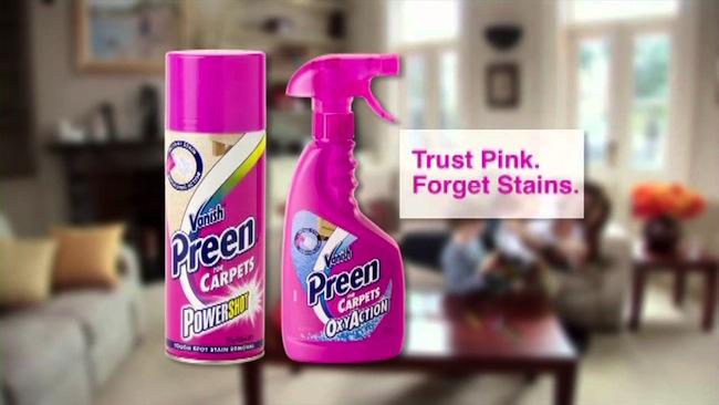 """สินค้า Vanish Preen กับสโลแกน """"ไว้ใจ Pink แล้วจะลืมรอยเปื้อน"""" : ภาพประชาสัมพันธ์สินค้า"""